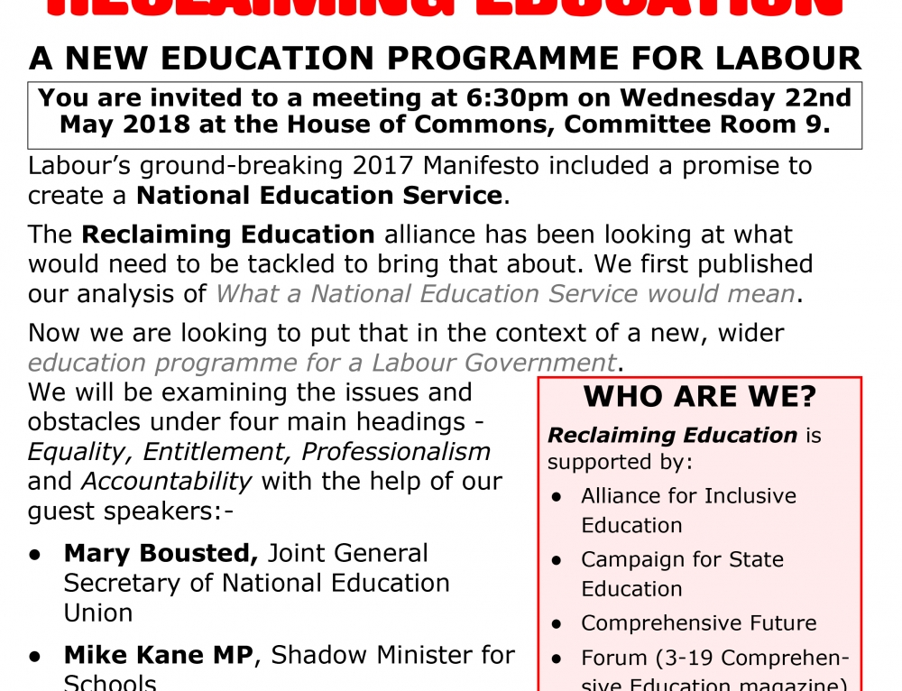 Reclaiming Education 'An Education Programme For Labour' on May 22nd