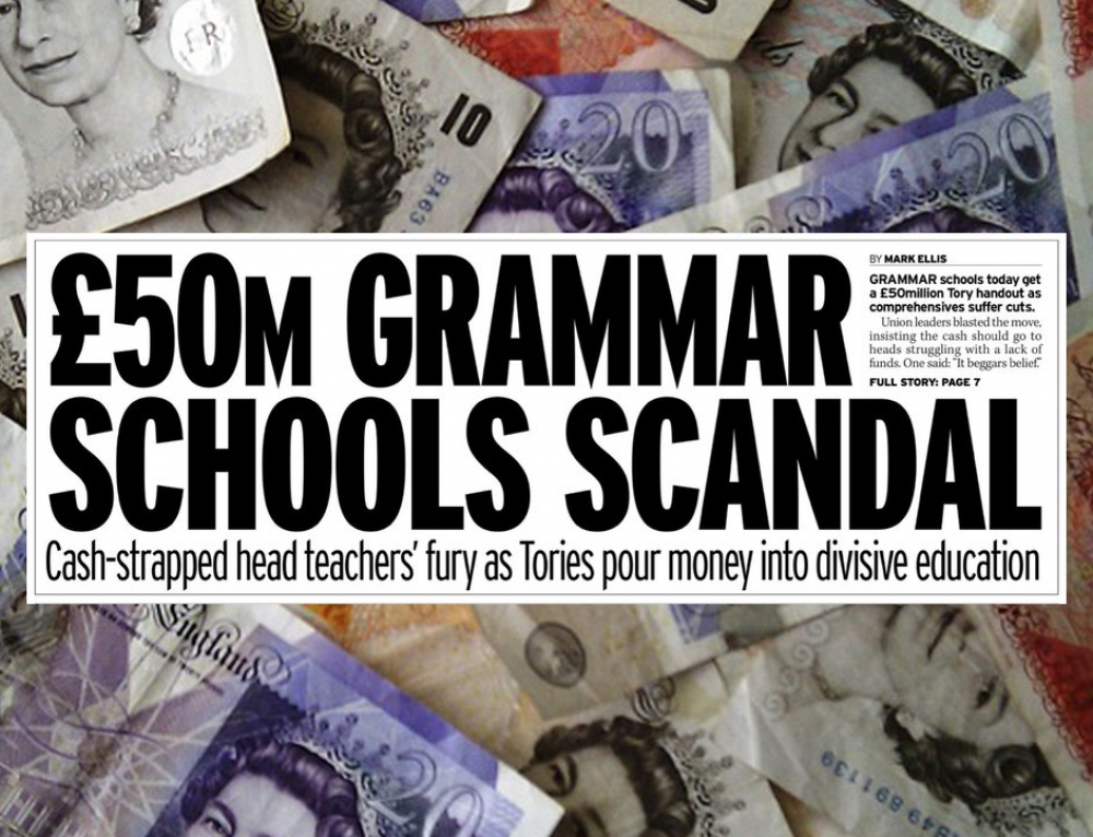 Sixteen grammar schools win expansion funding, as the government pursues a policy that ignores all evidence